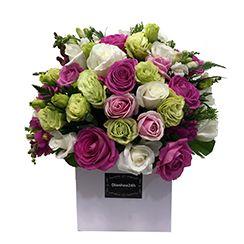 Giỏ hoa hồng tím G163